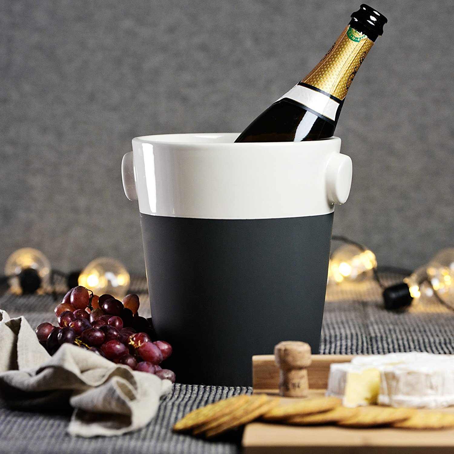 Magisso White Line Naturally Cooling Ceramic Champagne Bucket #70636