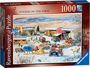 Ravensburger Winter on The Farm Jigsaw Puzzle 1000 Piece for Adults & for Kids Age 12 and Up