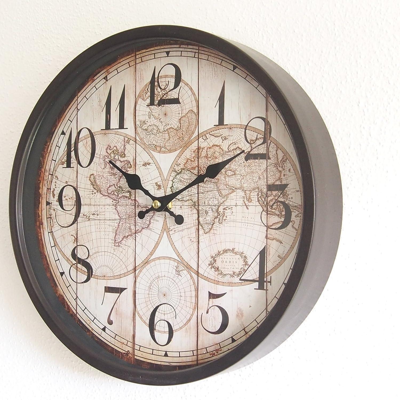 Diam/ètre 30 cm perla pd design Horloge murale en m/étal avec vitre en verre Style vintage Marron fonc/é laqu/é Env