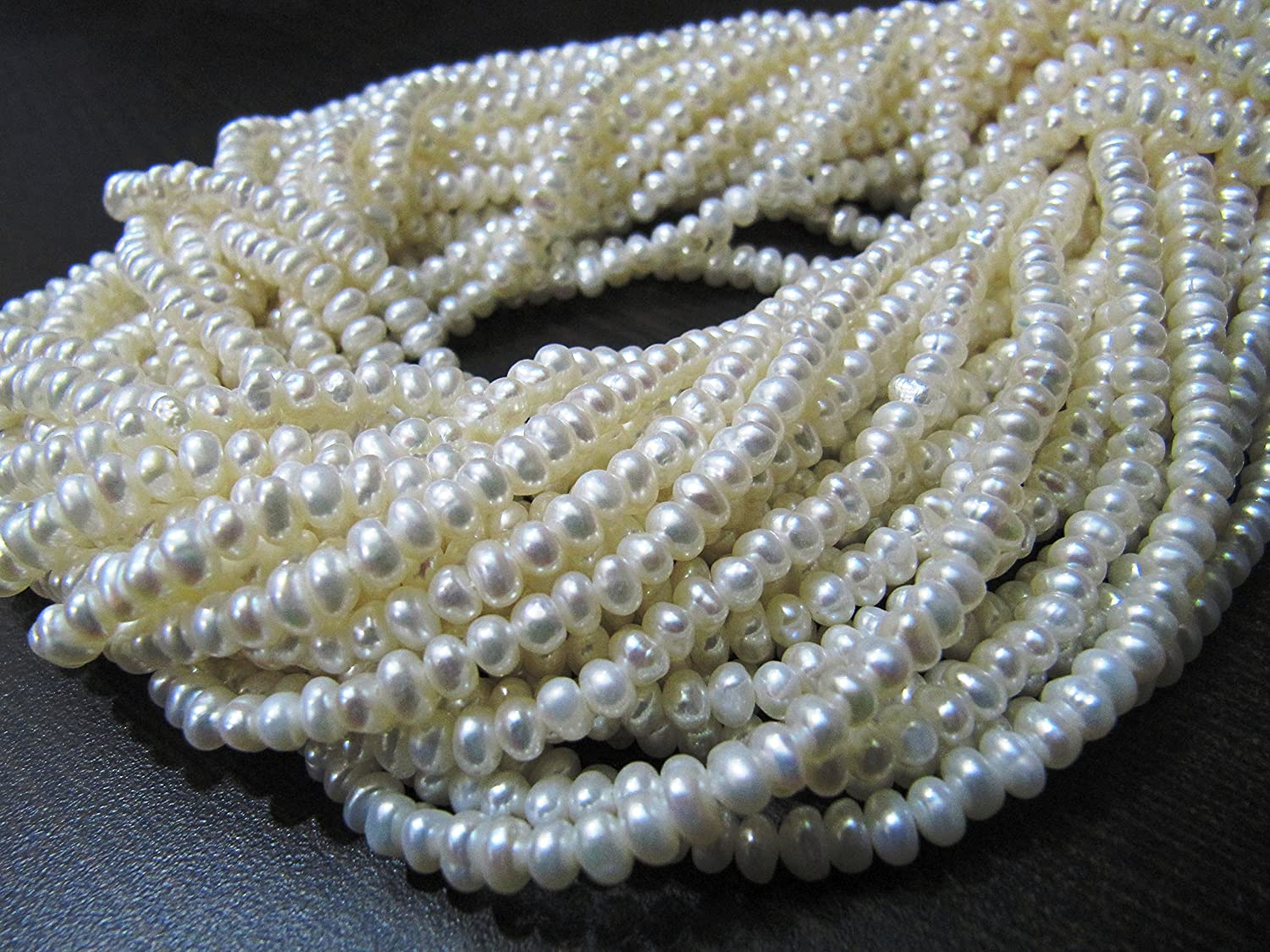 2-3mm Freshwater Natural Pearl Nearly Round Gems Loose Beads Strand For Necklace