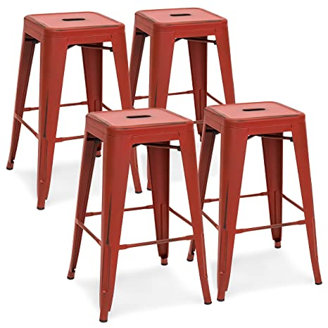 Pleasant Best Choice Products 24In Metal Industrial Distressed Bar Counter Stools Set Of 4 Red Pdpeps Interior Chair Design Pdpepsorg