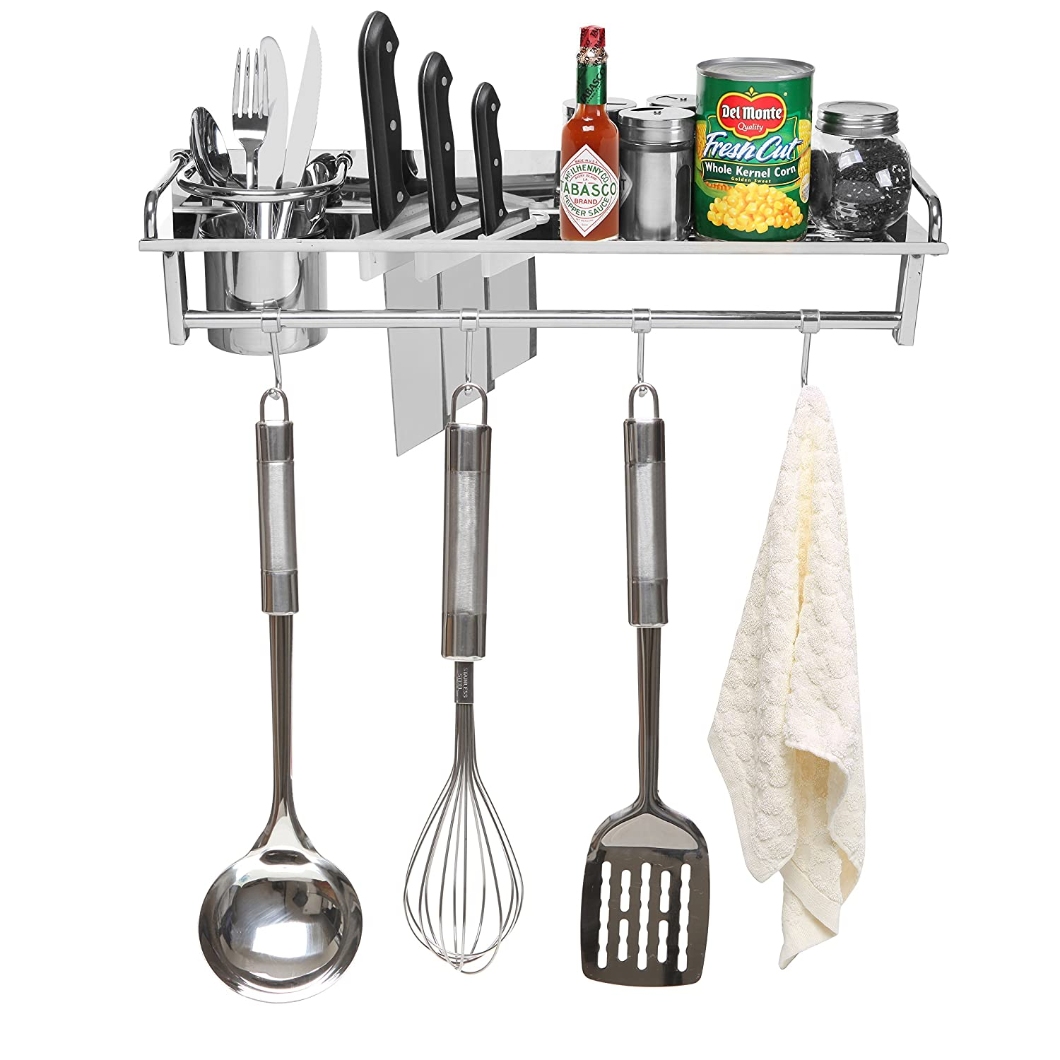 Amazon.com: Chrome Wall Mounted Kitchen Spice Rack W/ Utensil / Pot / Pan  Hanger Hooks, Silverware Caddy, Knife Slots: Kitchen U0026 Dining