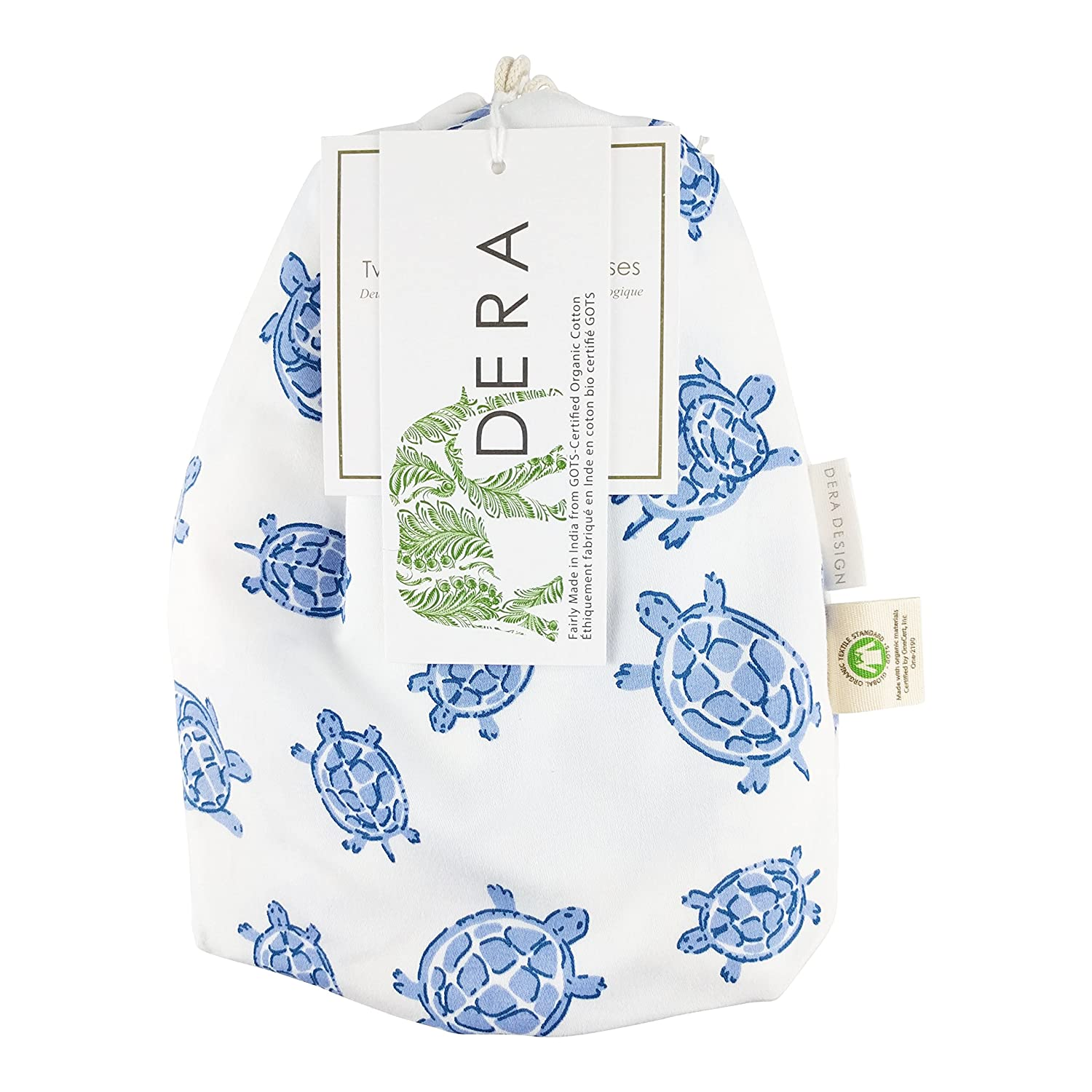 """Organic Cotton Portable Playard Fitted Sheet, 27"""" x 39"""" x 5"""" to Fit Pack 'n Play for Babies & Toddlers, Turtle Print (Blue) Dera Design"""