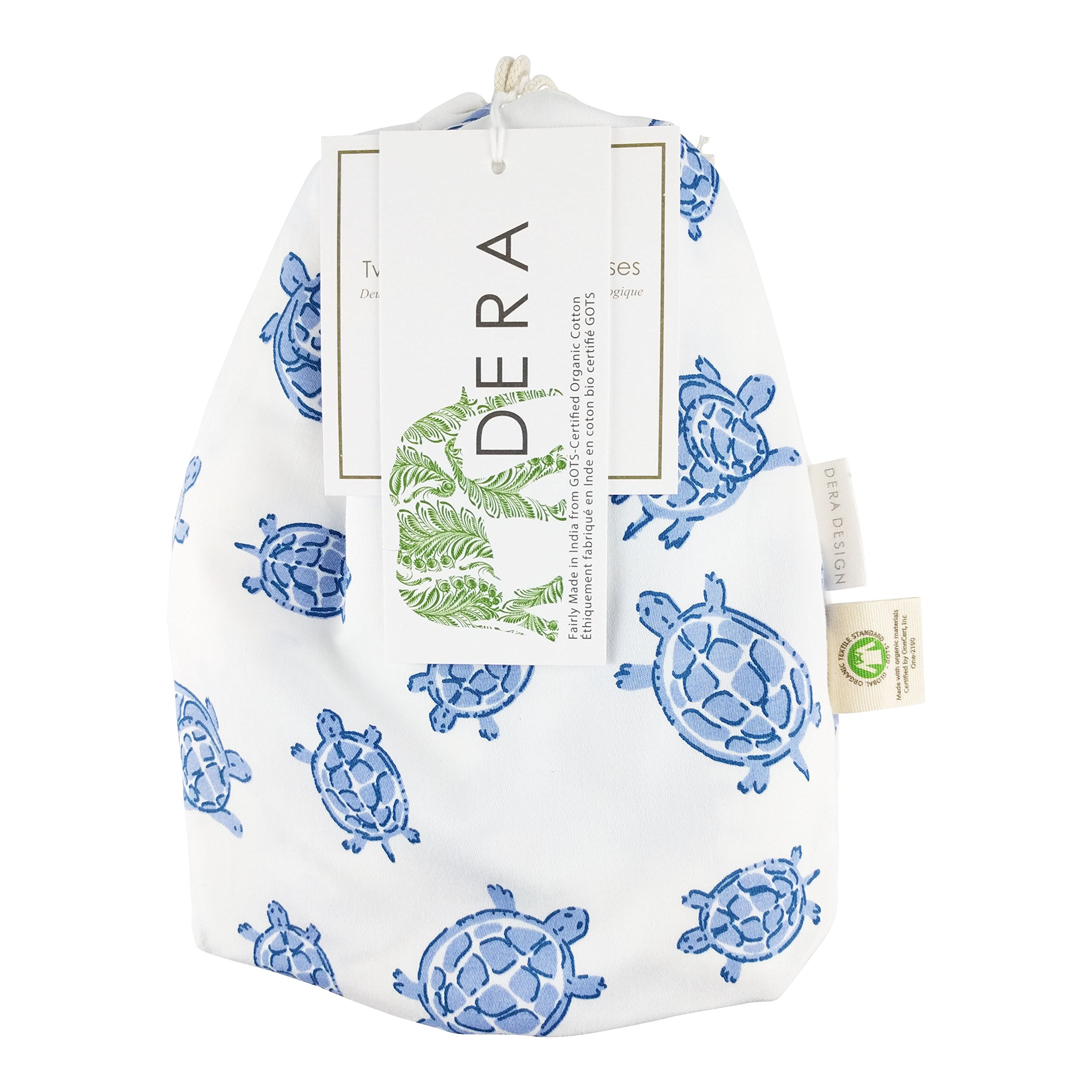 """Organic Cotton Portable Playard Fitted Sheet, 27"""" x 39"""" x 5"""" to Fit Pack 'n Play for Babies & Toddlers, Turtle Print (Blue)"""