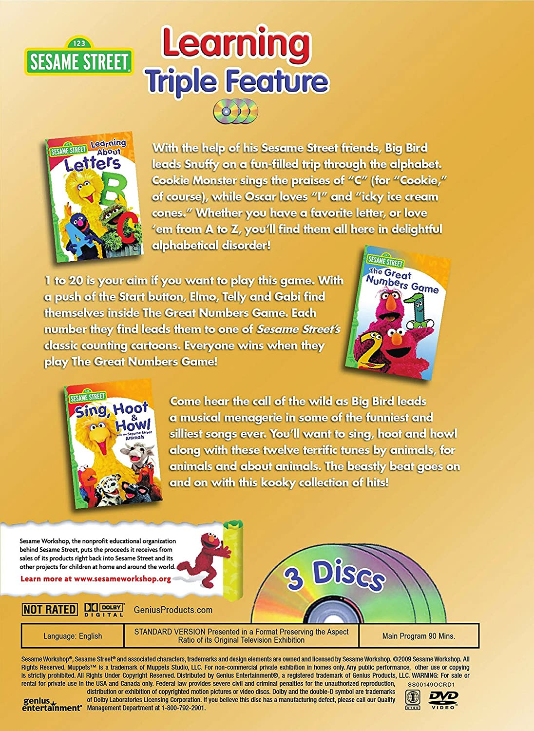 amazon com sesame street learning triple feature learning about