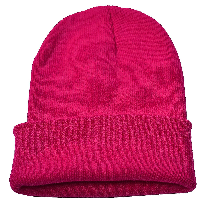 Dark Purple Woogwin Beanie Cap Winter Hats for Men Women Knitted Warm Hat Solid Color