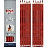 Koh-I-Noor 1561G Lot de 12 crayons indélébiles pour le copiage, Rouge