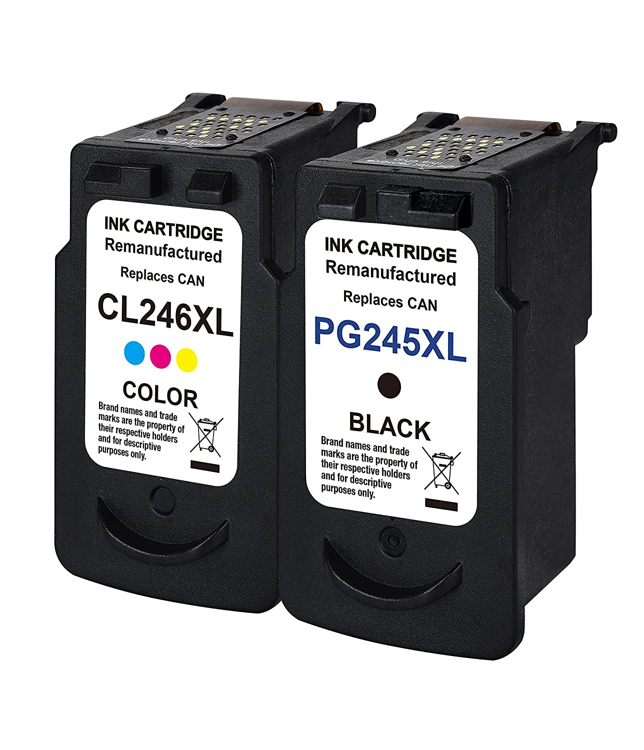 1 combo Remanufactured Ink Cartridge Replacement For Canon PG 245XL & CL 246XL 245 XL 246 XL (1Black 1Color) With Ink Level Indicator Used In PIXMA iP2820 MG2420 MG2520 2920 MG2922 MG2924 Printer