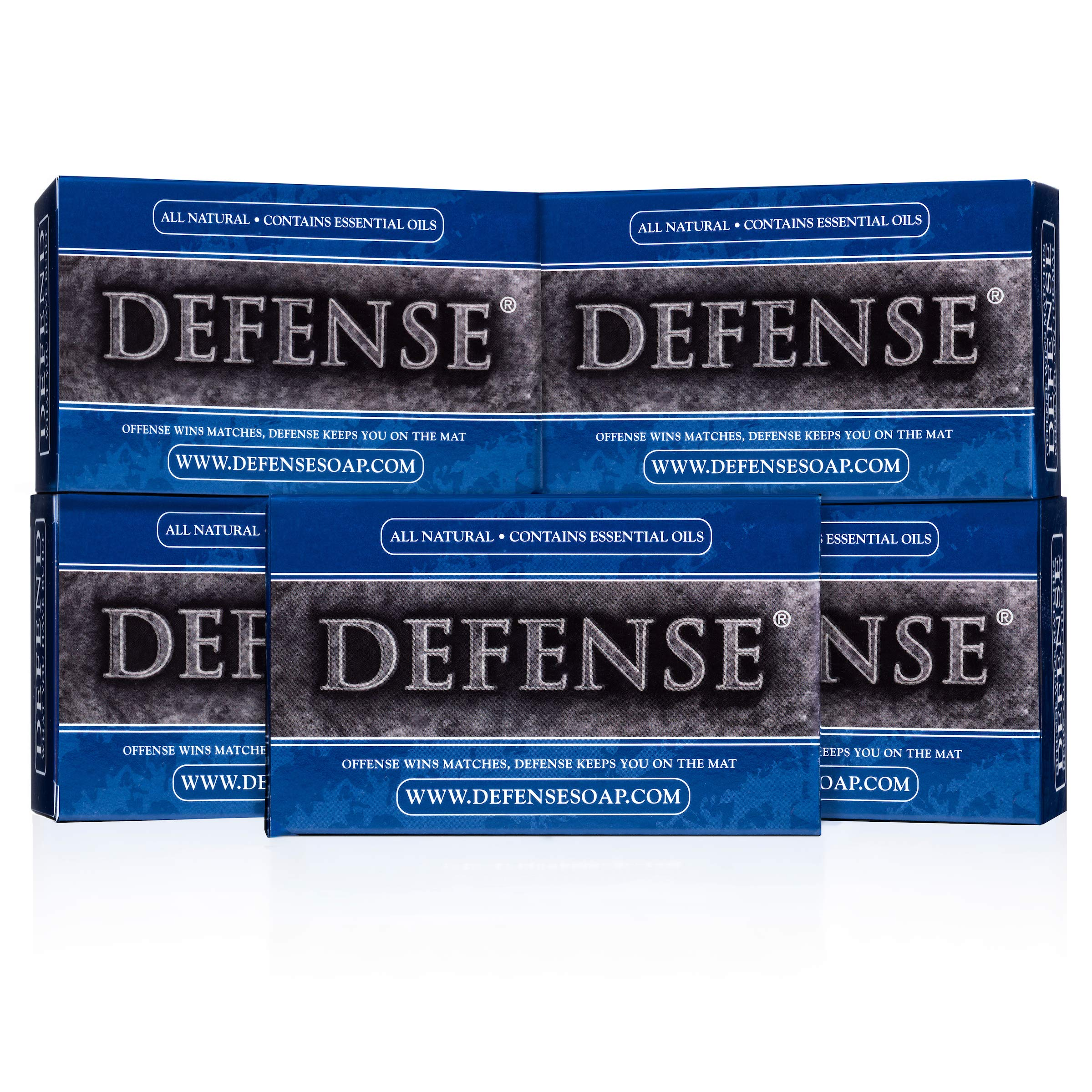 Defense Soap 4 Ounce Bar (Pack of 5) - 100 Percent Natural Pharmaceutical Grade Tea Tree Oil and Eucalyptus Oil by Defense Soap