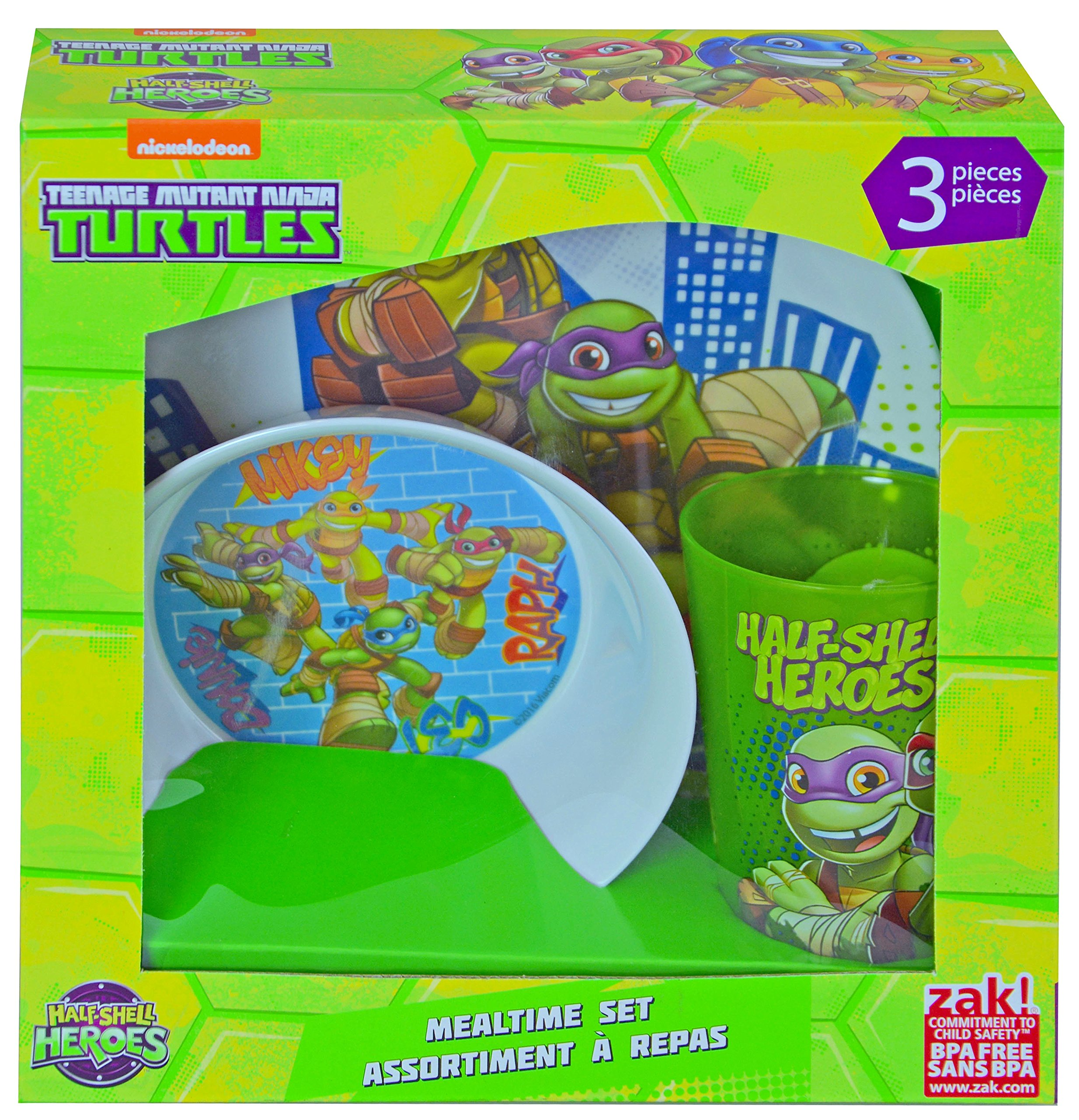 Teenage Mutant Ninja Turtles TMNT Half Shell Hero 3pc Dinnerware Window Box Set