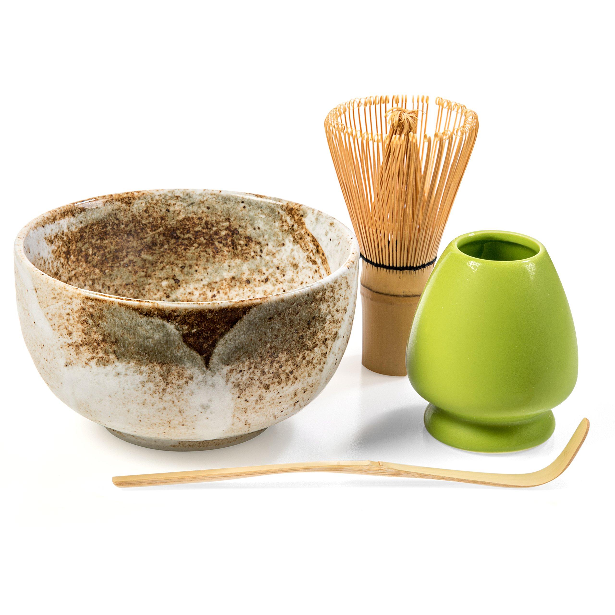 Tealyra - Matcha - Start Up Kit - 4 Items - Matcha Green Tea Gift Set - Japanese Made Beige Bowl - Bamboo Whisk and Scoop - Whisk Holder - Gift Box