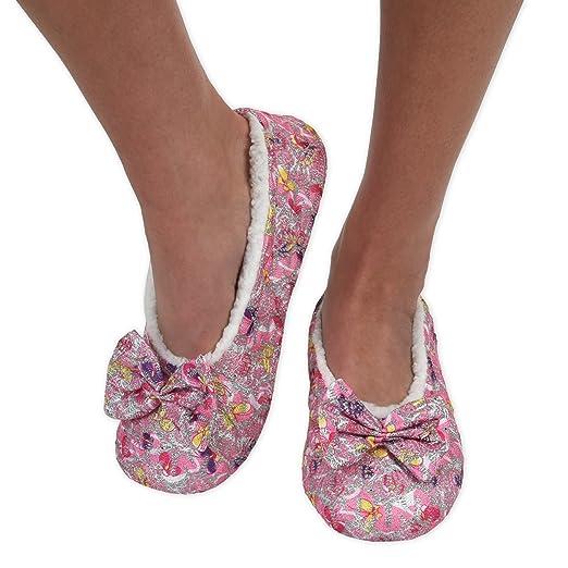 Snoozies Womens Brocade Shine Ballerina Comfort Split Slipper Socks - Pink, Large