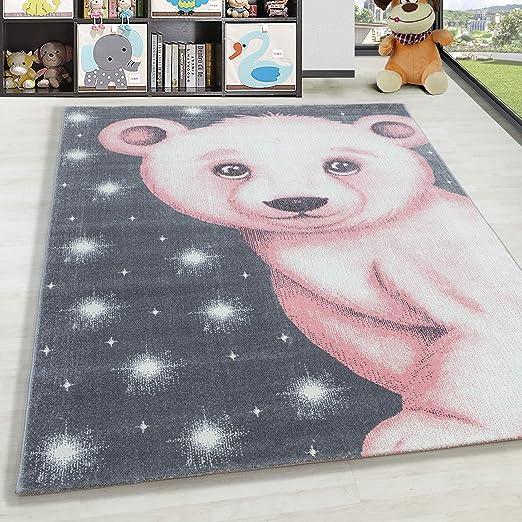 Alfombra Infantil Pelo Corto Oso Bebé Dormitorio Habitación de Gris Blanco Azul