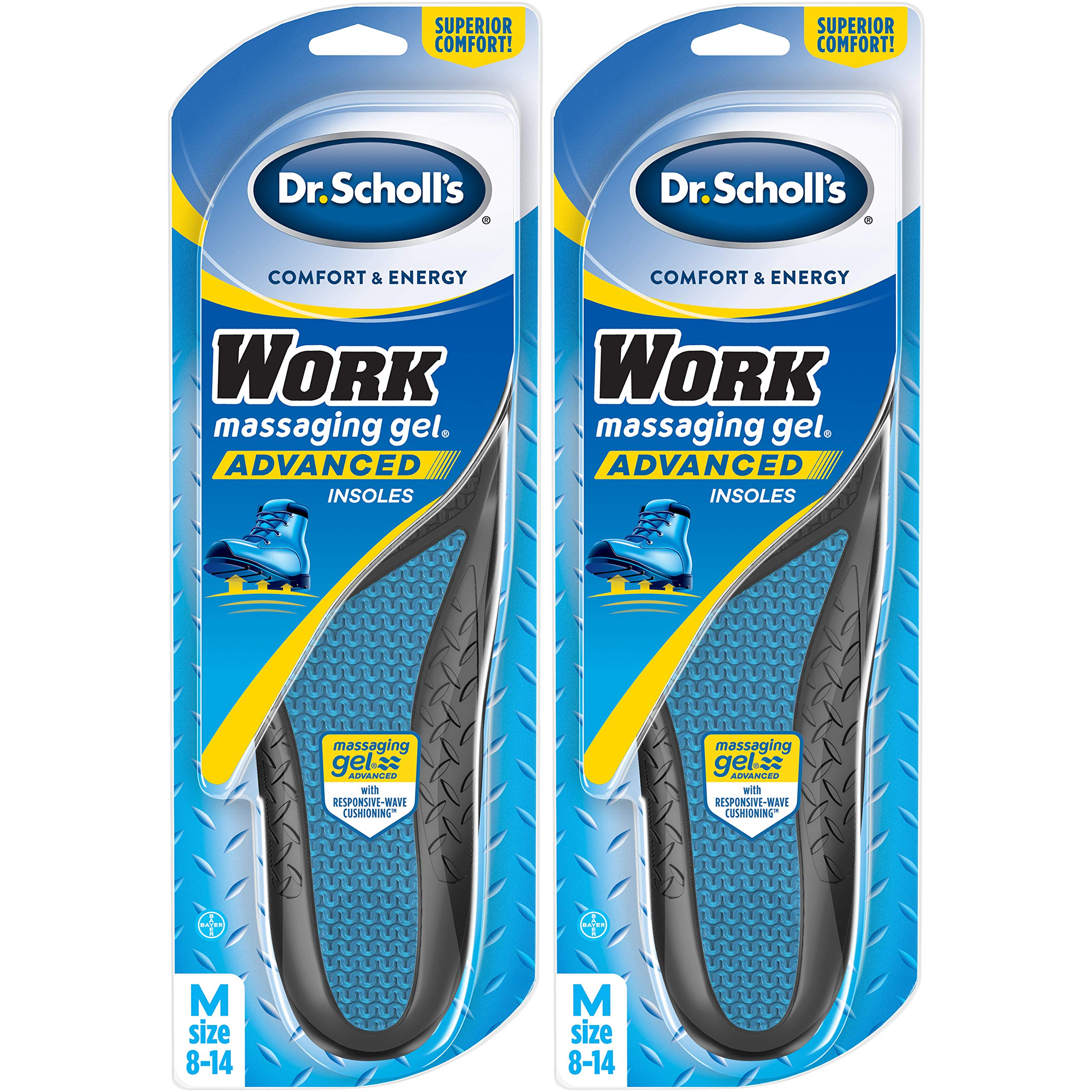 Dr. Scholl's WORK Insoles (Pack 2) // All-Day Shock Absorption and Reinforced Arch Support that Fits in Work Boots and More (for Men's 8-14, also available for Women's 6-10) by Dr. Scholl's