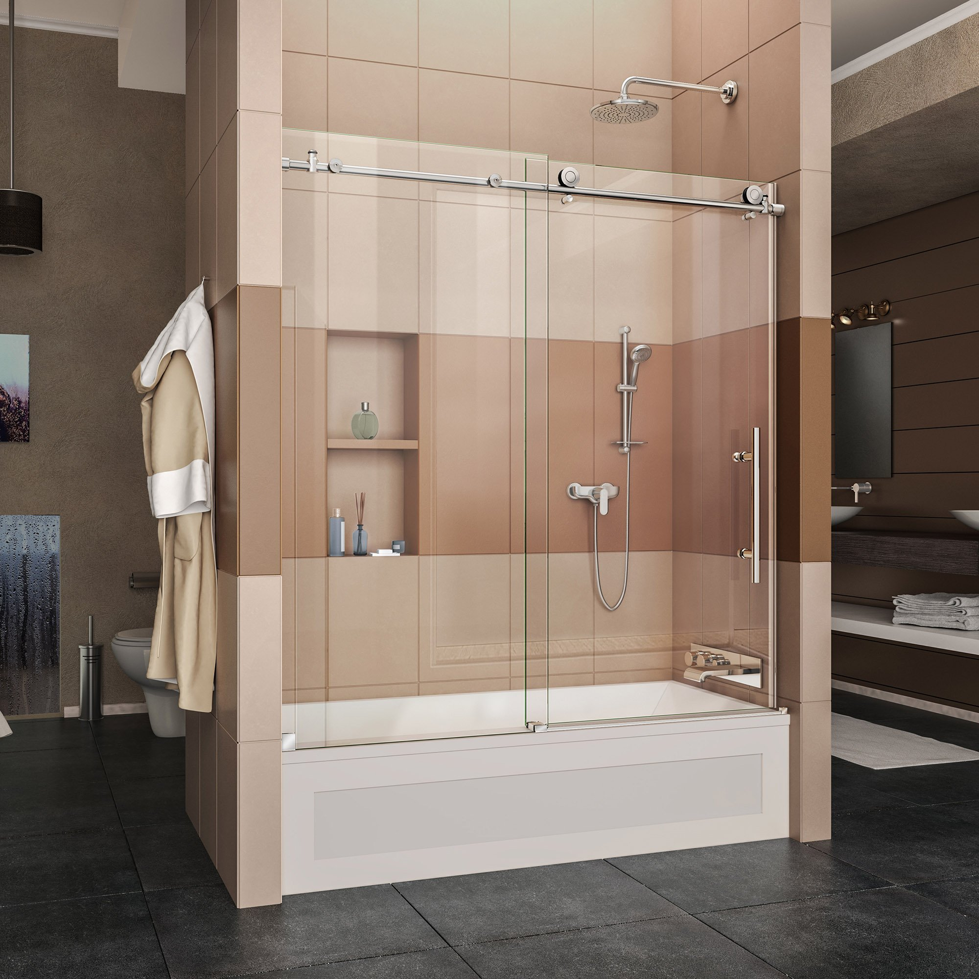 DreamLine Enigma-X 56-59 in. Width, Frameless Sliding Tub Door, 3/8'' Glass, Polished Stainless Steel Finish