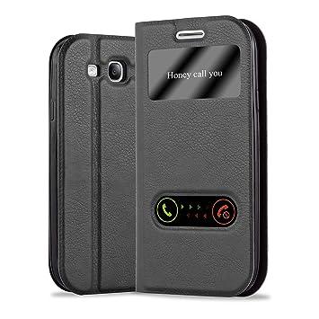 Cadorabo Funda Libro para Samsung Galaxy S3 / S3 Neo en Negro Cometa - Cubierta Proteccíon con Cierre Magnético, Función de Suporte y 2 Ventanas- View ...