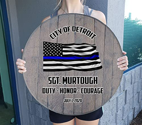 Rustic Wall Decor Personalized Custom Thin Blue Line Flag Police Retirement Rustic Home Decor Bar Sign Wall Art Gift Man Cave Wall Decor Barnwood Gray 22 inch Wall Decor