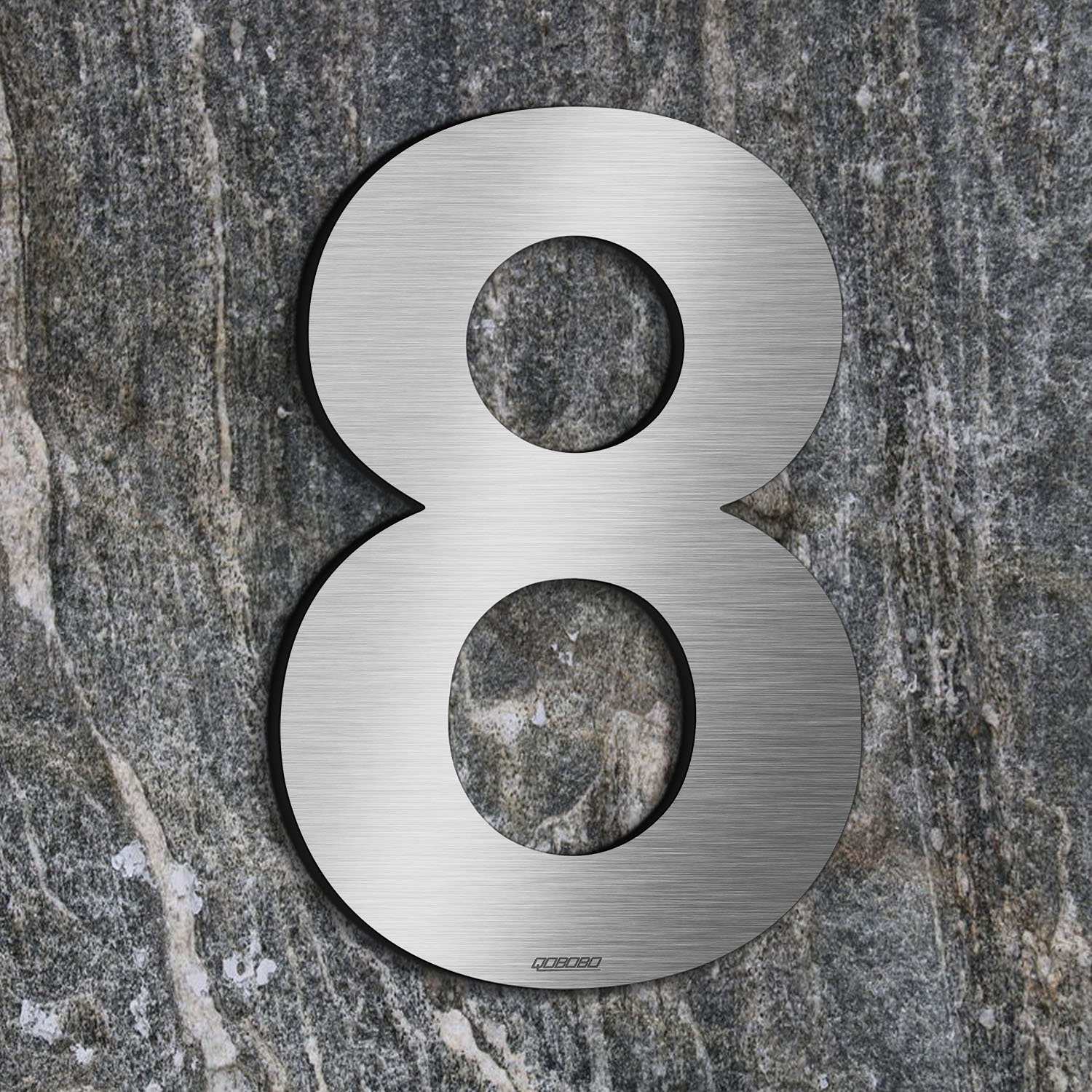 qobobo® Brushed House Number 8 Eight made of solid 304 Stainless Steel Floating Appearance 20cm 7.87 in Easy to install (1 pieces)