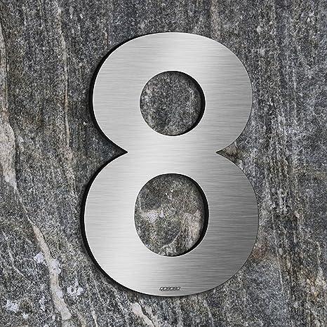 qobobo® Número Casa 8 Ocho Signo Vivienda Calle de 304 Acero Inoxidable Cepillado , 200mm