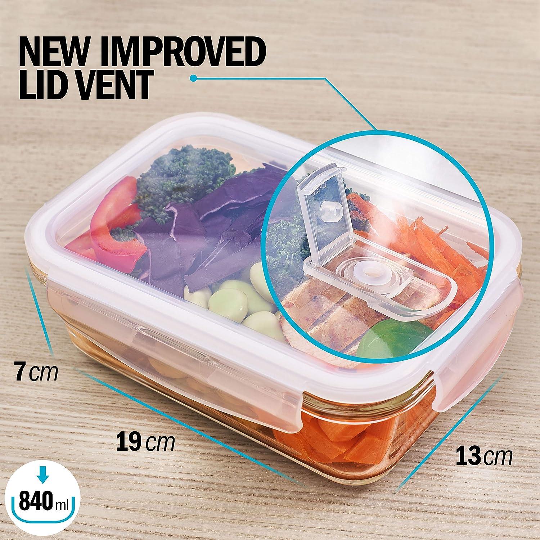 Horno y Lavavajillas Libres De BPA Contenedores De Vidrio Para Comida De Tapa Transparente Con Respiraderos Para Vapores Aptos Para Microondas Congelador Pack de 5 1 Tapa Gratis