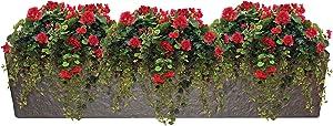 "Emsco Group 92415 38"" Weatherproof Resin Trough Window Planter, Bronze"