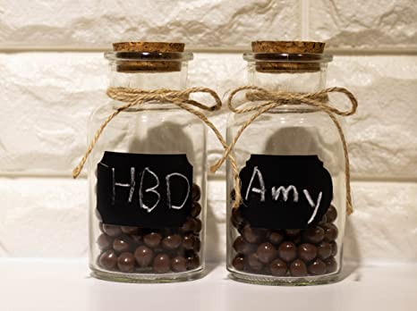 Pequeñas botellas de cristal - Set de 12 pequeñas botellas de vidrio con tapón de corcho, pequeño cristal decorativas botellas ideal para DIY manualidades, ...
