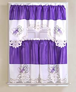 RT Designers Collection Grape Tier and Valance Noble Embroidered Tier & Valance Kitchen Curtain Set