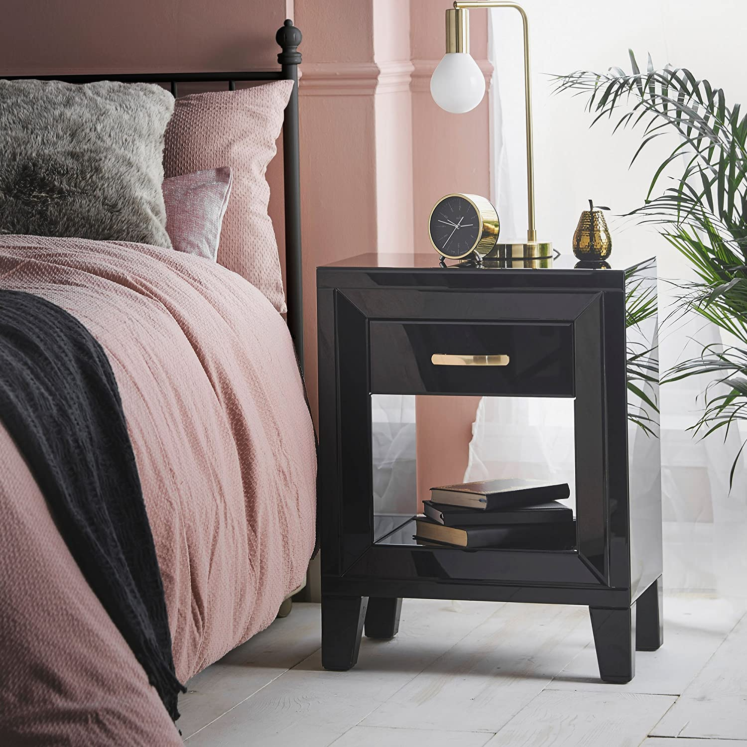 Beautify Black Mirrored Bedside Table Nightstand with Single Drawer & Cut Out Open Centre Shelf