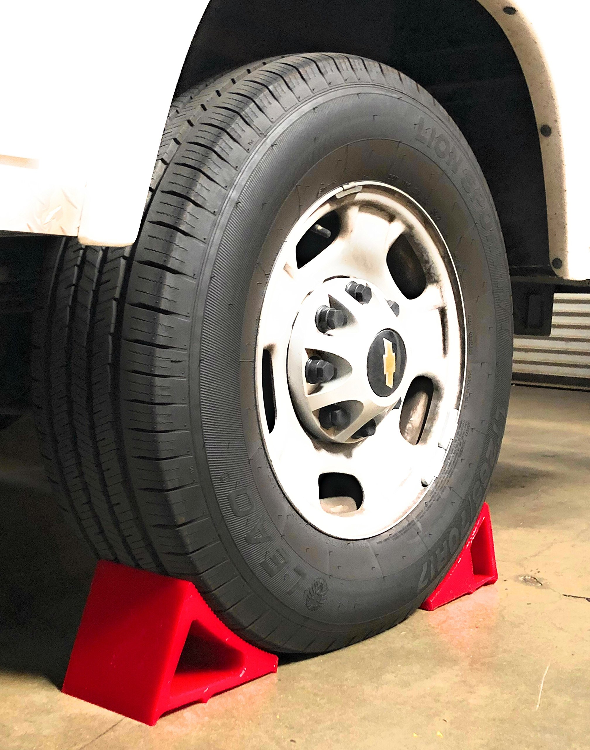 Tire & Wheel Chock - Ideal Camping Accessory for RV Motorhome, Trailer, Truck, Motorcycle & Car. Weatherproof, Outdoor Grade, Polyurethane Better Than Rubber or Plastic, 5 Year Warranty, 2 Pack Red by Elasco Products (Image #6)