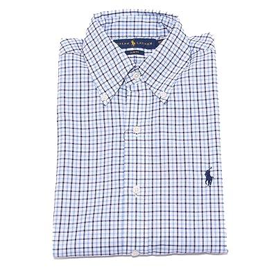 768302ebc263 Ralph Lauren 4693V Camicia Uomo Slim FIT Blue Button Down Shirt Men  37 (14  1 2)   Amazon.fr  Vêtements et accessoires