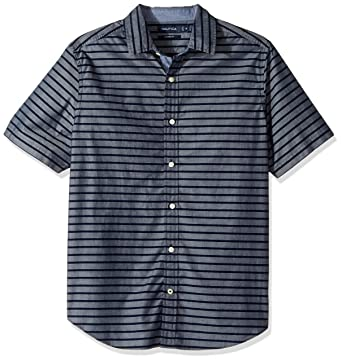 6d589ce16d Nautica Men's Short Sleeve Classic Fit Striped Button Down Shirt at Amazon  Men's Clothing store: