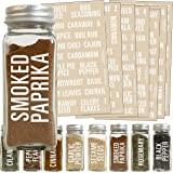 Talented Kitchen 134 White All Caps Spice Label Set: 134 Spice Names + Numbers. White Letters on Clear Sticker. Water…
