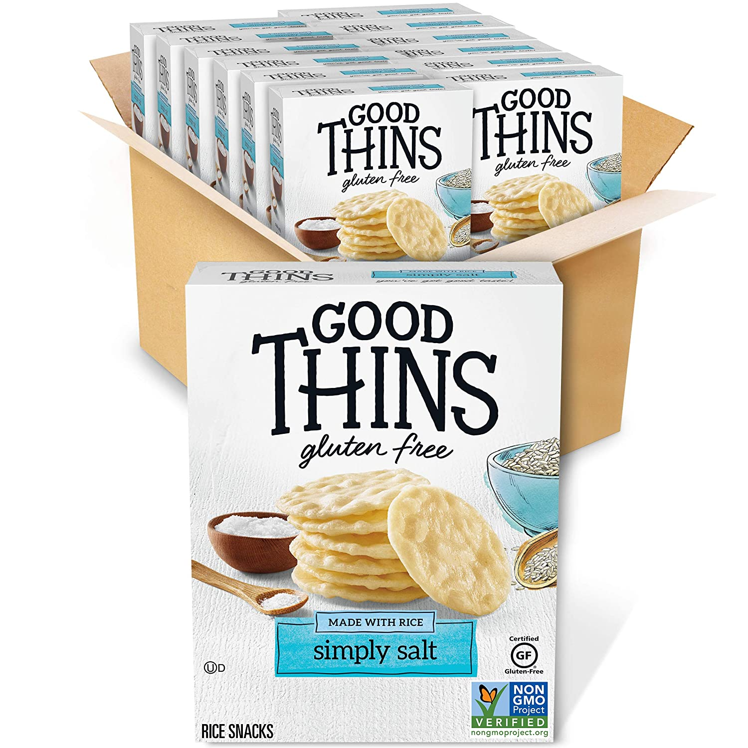 Good Thins Simply Salt Rice Snacks Gluten Free Crackers, 3.5 oz Boxes, 12 Pack (Contains Diary)