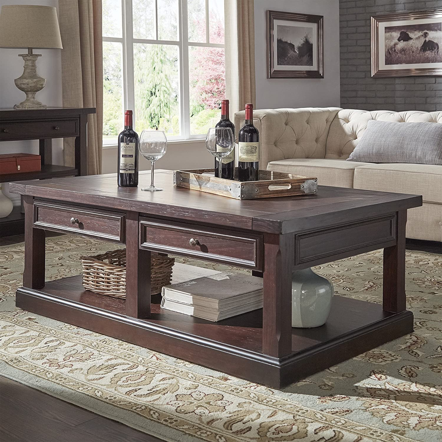 Amazon com rectangle living room coffee sofa end accent table sets wood and veneer construction drawers and open storage expert guide kitchen