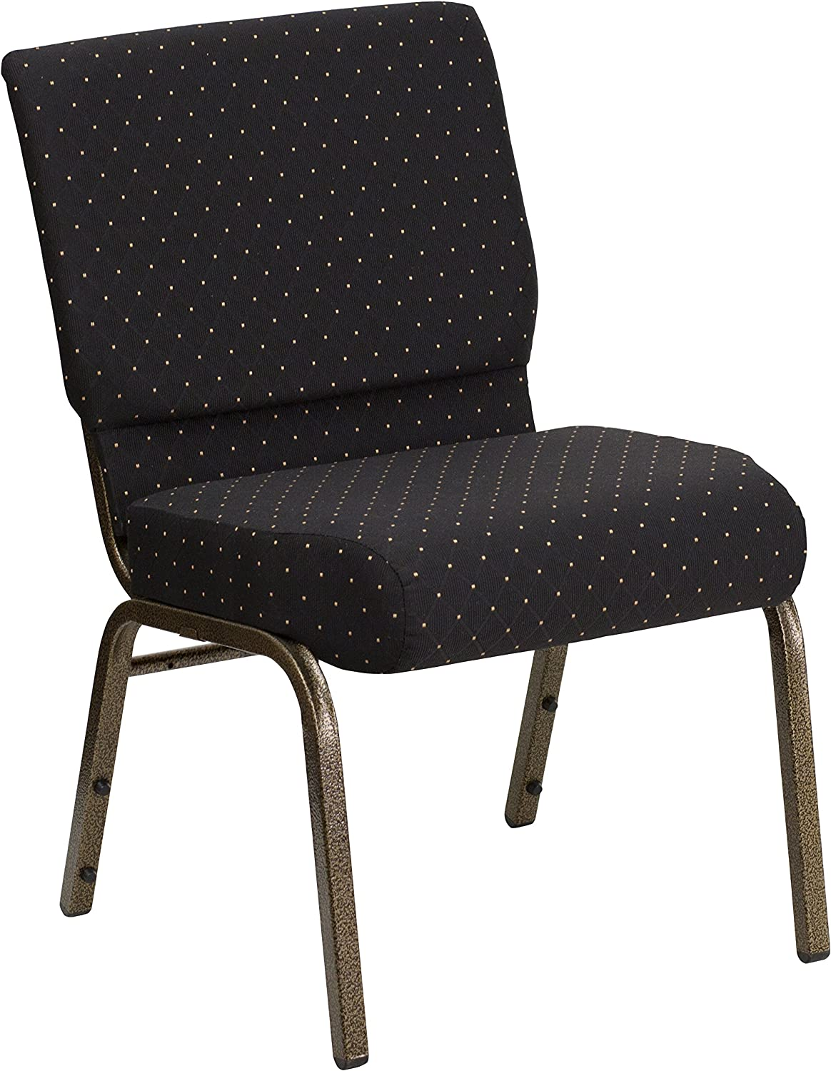 Gold Vein Frame Flash Furniture 4 Pk HERCULES Series 21W Stacking Church Chair in Black Dot Patterned Fabric