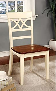 Furniture Of America Cherrine Country Style Dining Chair, Oak/Vintage White,  Set Of