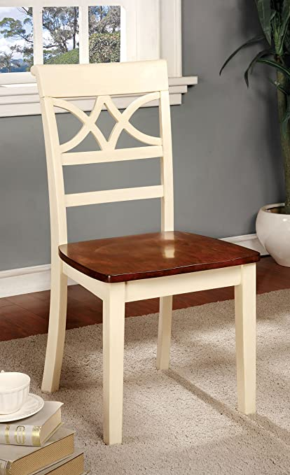 Furniture of America Cherrine Country Style Dining Chair, Oak/Vintage  White, Set of - Amazon.com - Furniture Of America Cherrine Country Style Dining
