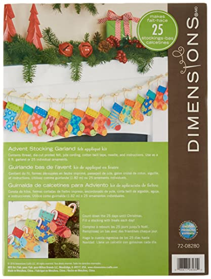 Dimensions Needlecrafts Dimensions Advent Stocking Garland Felt Applique Kit, 72-08280