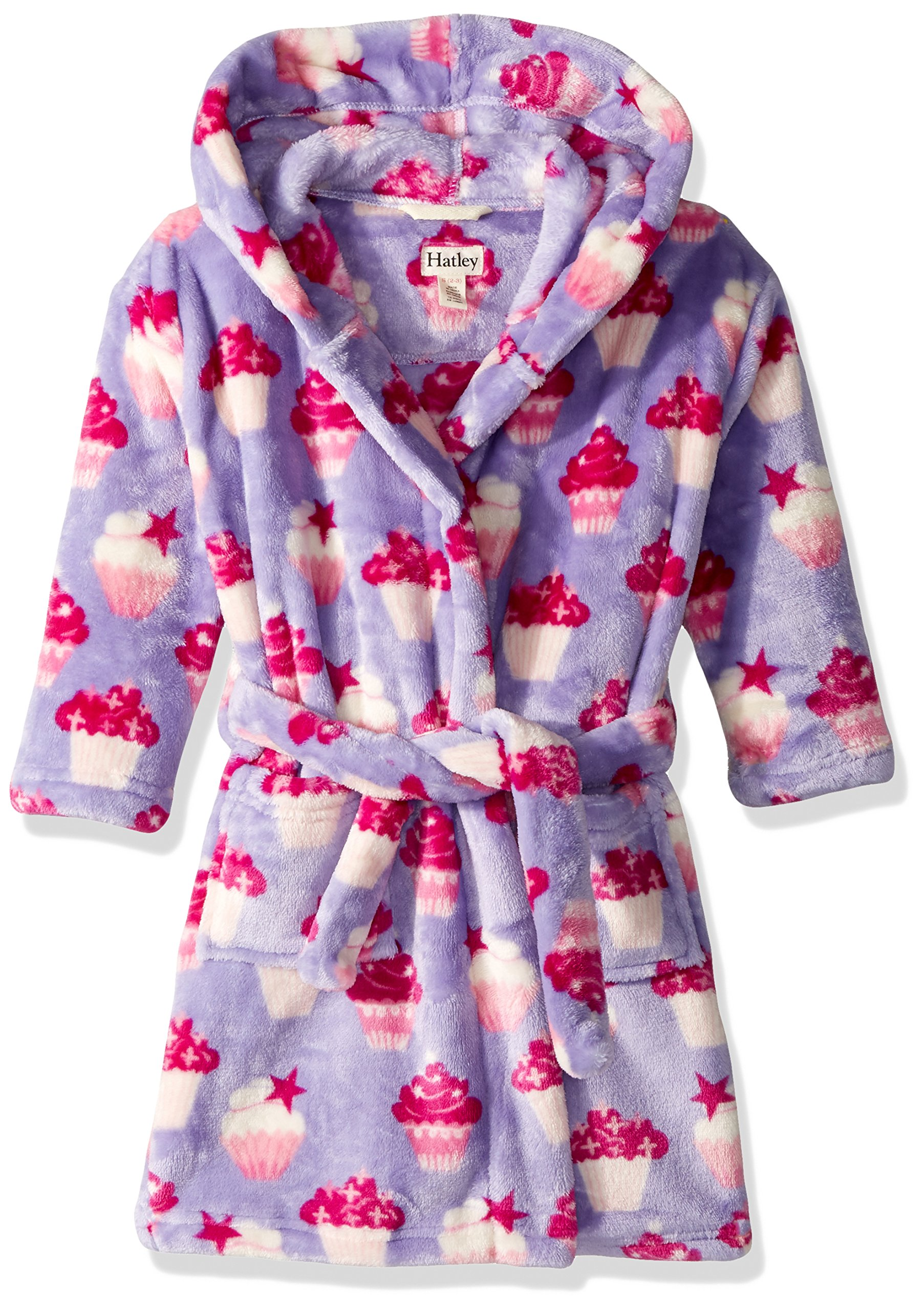 Hatley Girls' Little Fuzzy Fleece Robes, Yummy Cupcakes Small