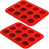 Kitchen Zone 12-Cup Mini Muffin Pan, 2-Pack, Red