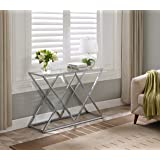 Chrome Metal Frame / Tempered Glass Console Sofa Table Double X Design