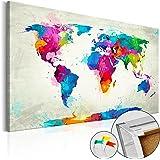 Neuheit! Weltkarte mit Kork Rückwand 60x40 cm - einteilig Bilder Leinwandbild Poster Pinnwand Kunstdruck Weltkarte Kontinent Welt Landkarte Karte k-A-0055-p-a 60x40 cm B&D XXL