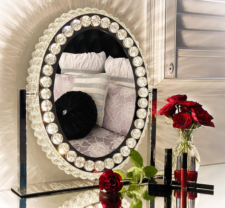 DermAllura Hollywood Vanity Mirror with Lights - Crystal Makeup Mirror I Vanity Mirror with Lights I Lighted Vanity Makeup Mirror I Oval Make Up Mirror with LED Lights for Vanity Table