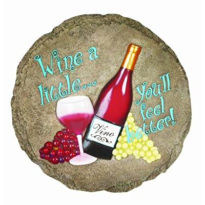 Spoontiques Wine Stepping Stone : Outdoor Decorative Stones : Garden & Outdoor