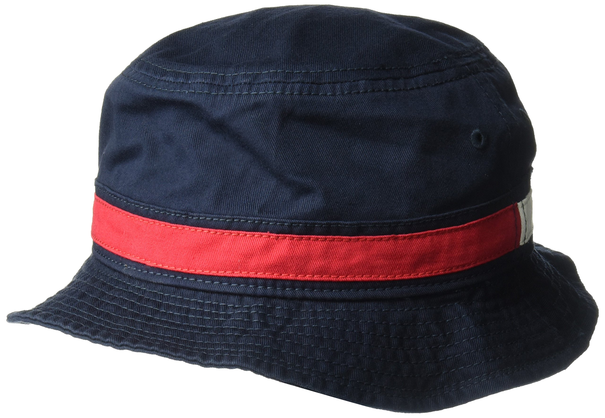 Tommy Hilfiger Men's Dad Hat Flag Bucket Cap, Navy Blazer, Small-Medium