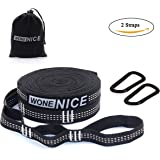 WoneNice Hammock Tree Straps - Combined 20 Ft Long 2000 LB Breaking Strength with 40 Loops, , 2 Carabiners. 100% No Stretch Polyester Suspension Straps