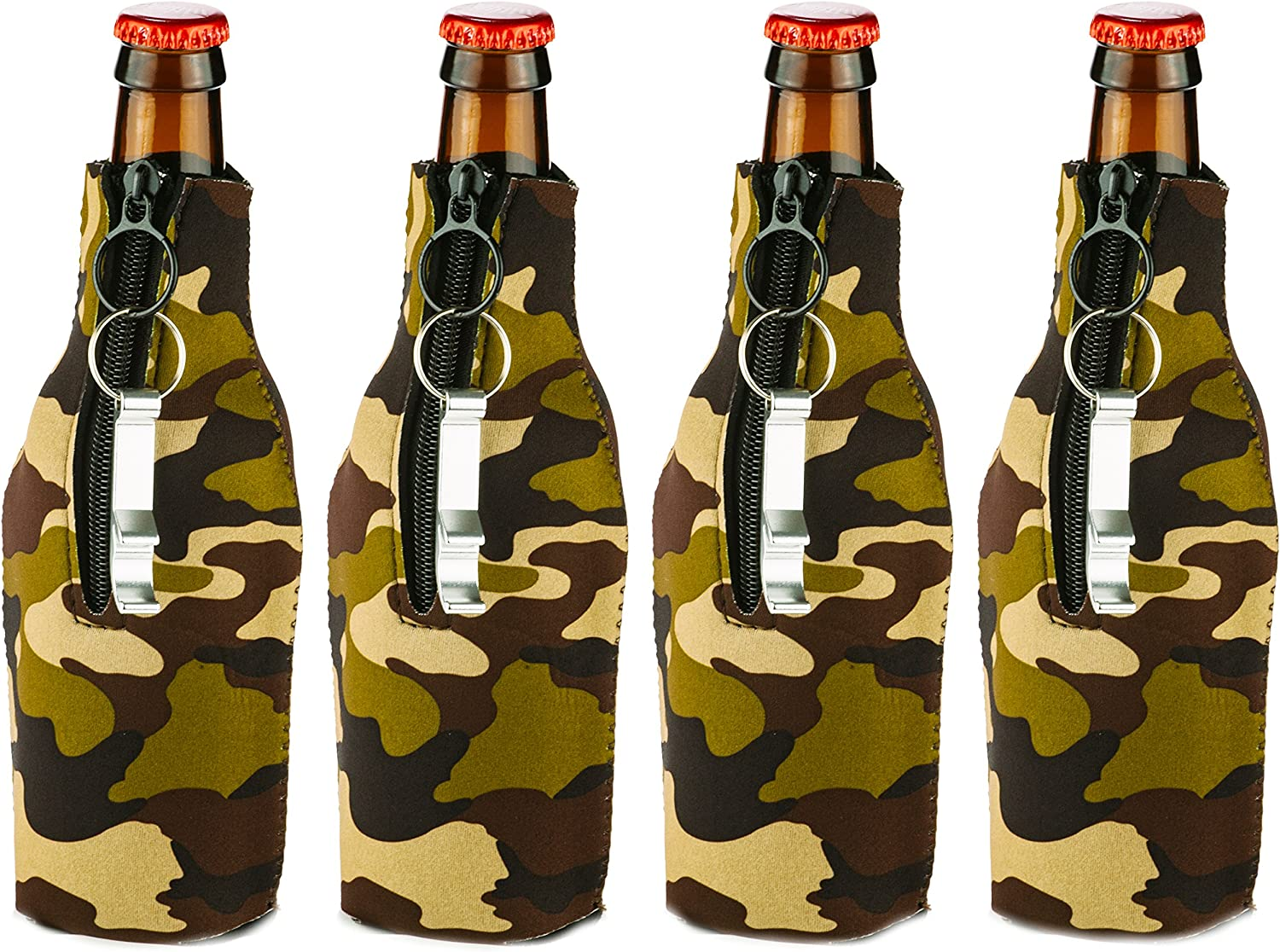 Funny Guy Mugs Premium Plain Collapsible Neoprene Bottle Coolies, Camouflage, Set of Four With Bottle Openers
