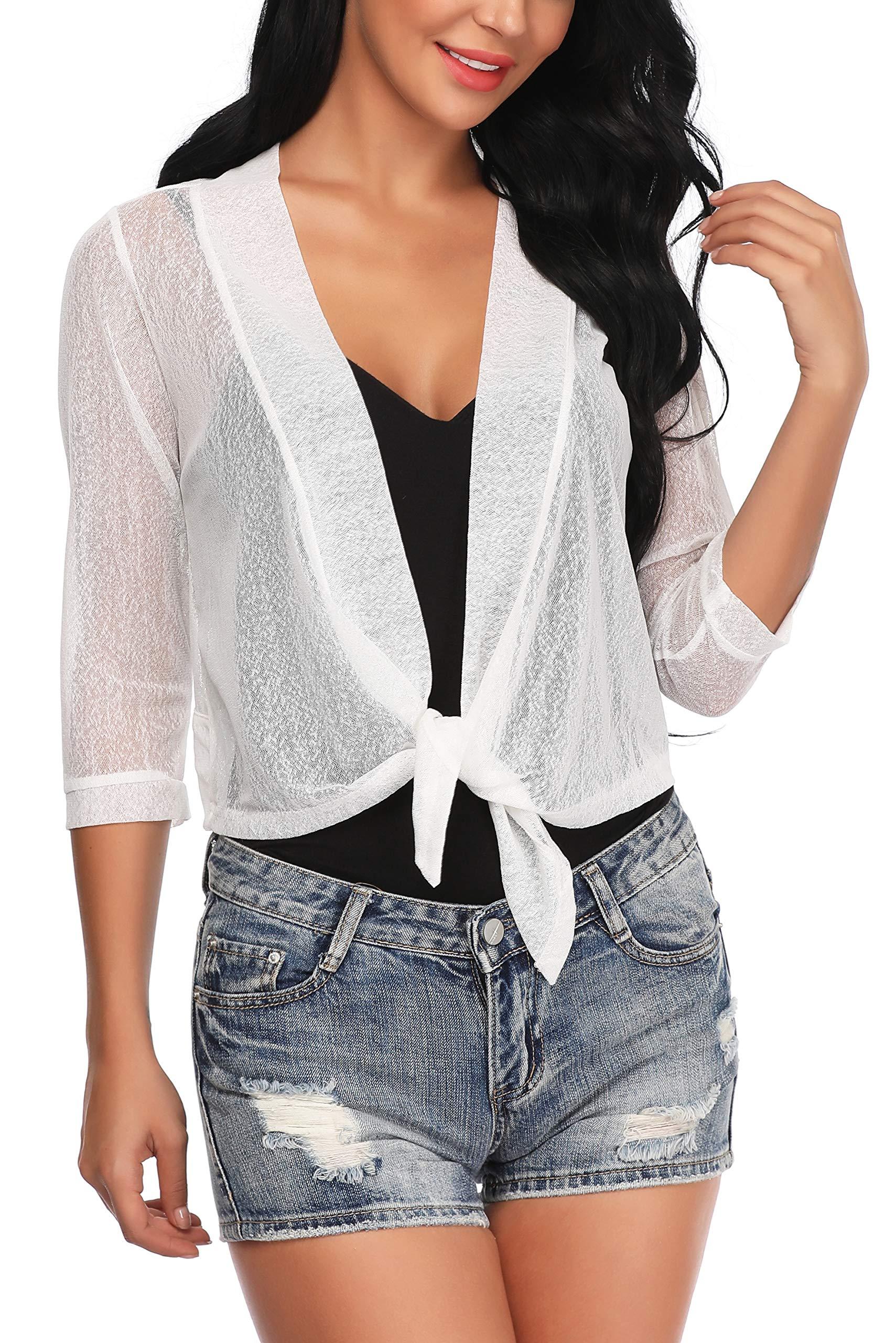 Aranmei Womens Sheer Shrug Cardigan Tie Front 3/4 Sleeve Bolero Jacket(White, Large)