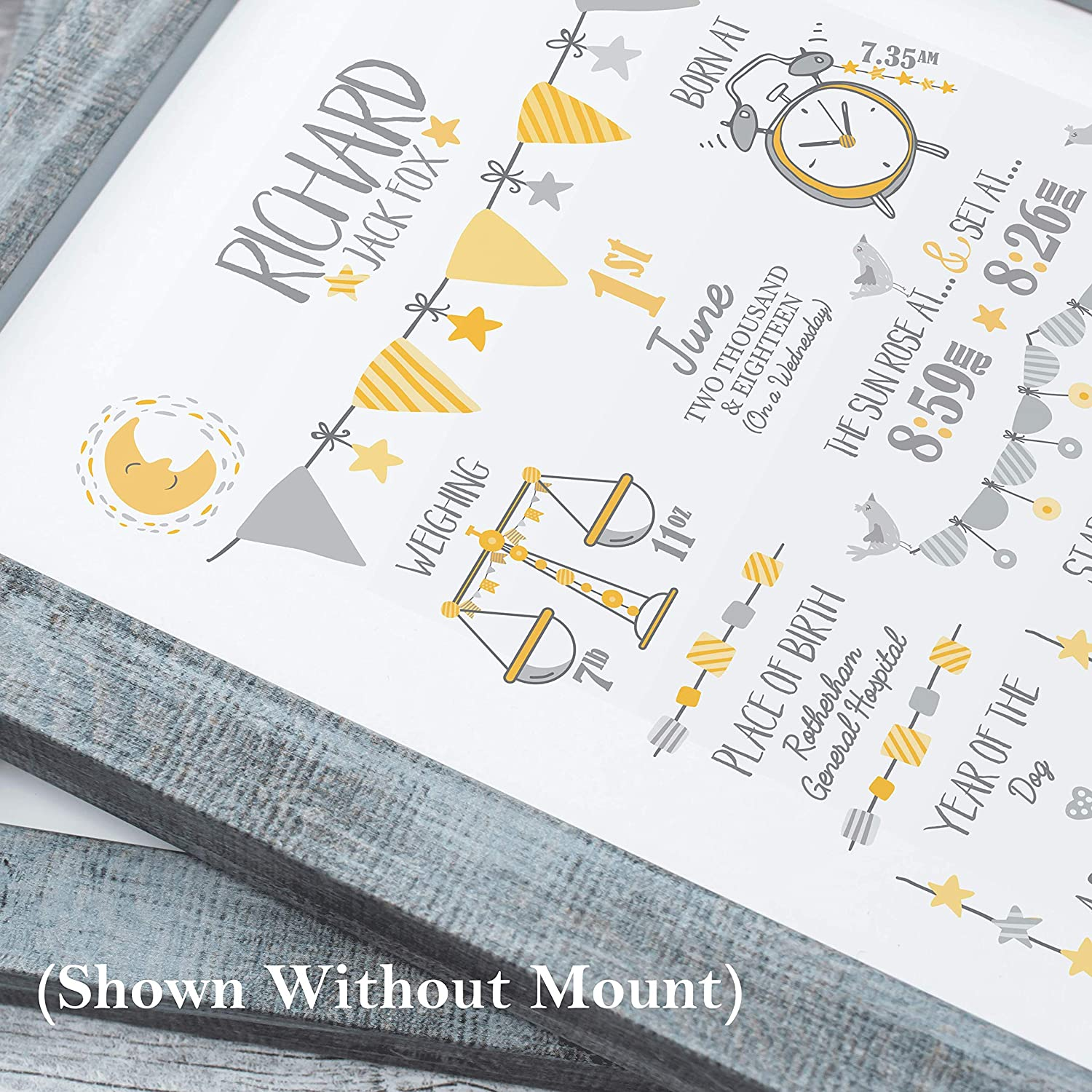 New Baby Gift Bespoke Christening or Baptism Present Personalised Birth Print for Baby Boy Birth Details Stats Picture 297 x 420mm The Whistling Wren Blue, A3 Unframed Print