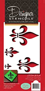Designer Stencils Fleur De Lis Cake Stencil Motif, Beige/Semi-Transparent, 4 X 2, 3 X 2, 2 X 1.3, 1 X 0.7